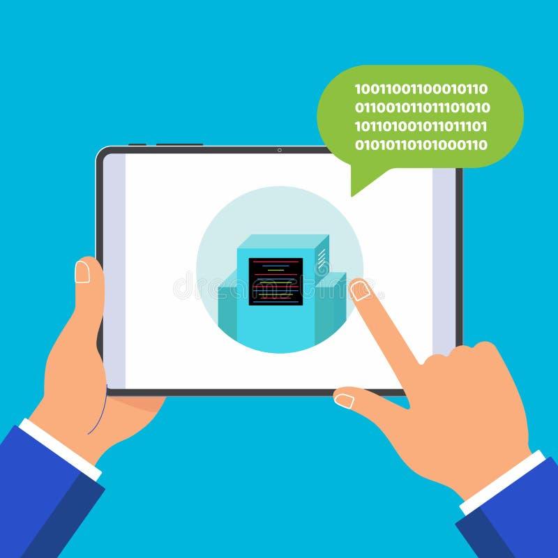 Handen die zwart die tabletapparaat houden op blauwe achtergrond wordt geïsoleerd stock illustratie