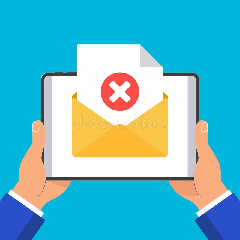 Handen die zwarte tablet met het document van het envelop open document het vinkjekruis van de bladpagina geen houden Se van de h stock illustratie