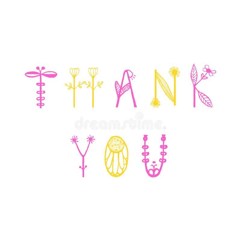 Handen dragen blom- bokstäver med ord tackar dig Den unika typografiska beståndsdelen för vykort, hälsningkortet eller tackar dig stock illustrationer