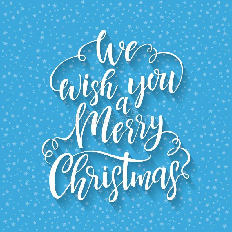 Handen dragen bokstäver önskar vi dig glad jul Vektordesignbeståndsdel för hälsningkort stock illustrationer