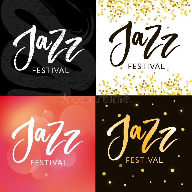 Handen dragen bokstäver citerar om samlingar för jazzfestivalen som isoleras på den vita bakgrunden Rolig kalligrafi för borstefä royaltyfri illustrationer