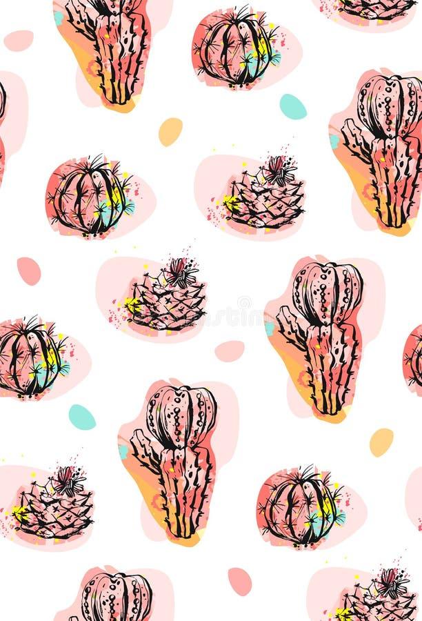Handen dragen collage för modellen för vektorabstrakt begrepp sömlös med kakturs planterar illustrationer och konfettiformer som  royaltyfri illustrationer