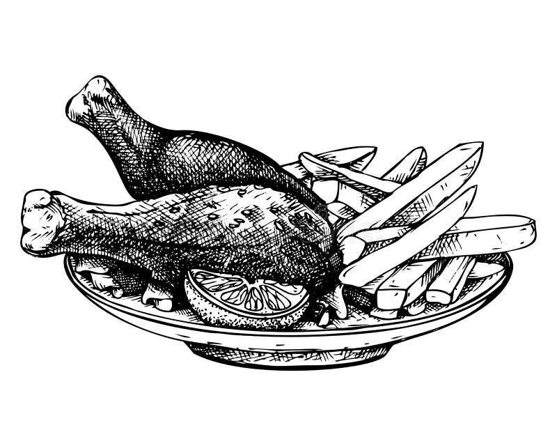 Handen dragen fransk småfiskar och höna skissar Köttproduktvektorillustration Tappningmatteckning vektor illustrationer