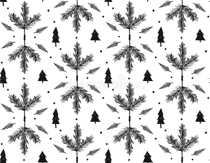 Handen dragen glad jul för vektor ruffar mot den sömlösa modellen för frihandsbeståndsdelar för den grafiska designen med färgpul stock illustrationer