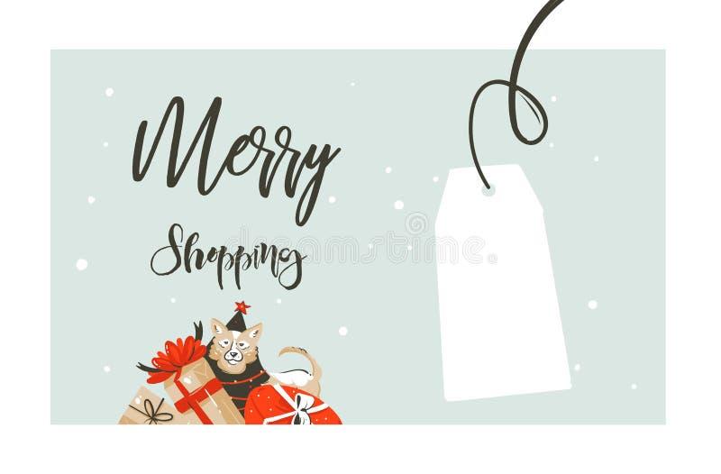 Handen dragen glad jul för vektorn som shoppar logo för illustration för hälsning för tidtecknad film grafisk enkel, planlägger m vektor illustrationer