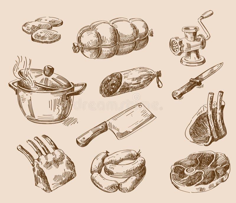 Handen dragen mat skissar vektor illustrationer