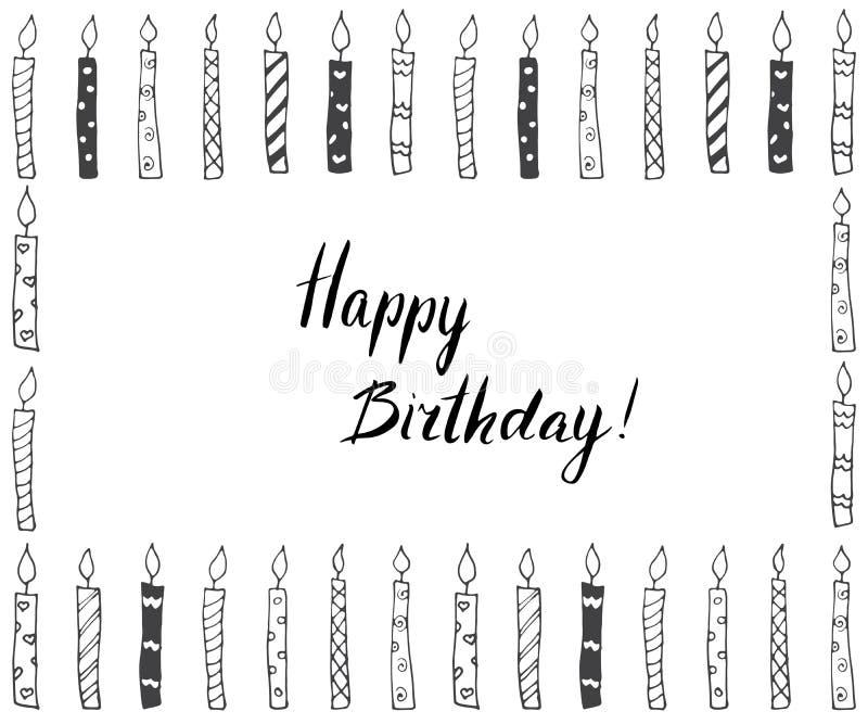 Handen dragen partibakgrund med stearinljus, räcker skriftlig bokstävertext lycklig födelsedag, på vit vektor illustrationer