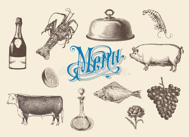 Handen dragen tappning skissar uppsättningen av mat och drinkar för meny vektor illustrationer