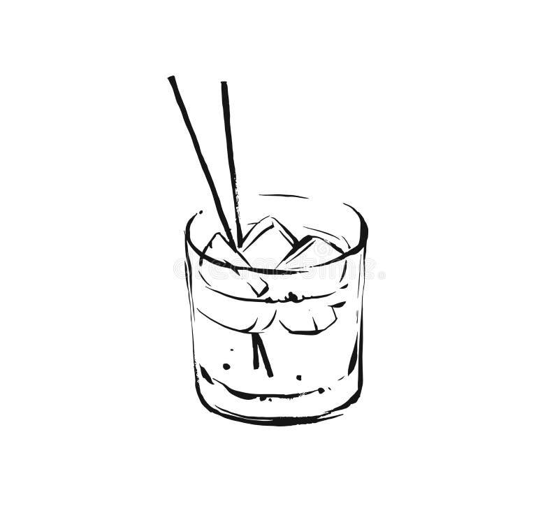 Handen dragit abstrakt grafiskt konstnärligt laga mat färgpulver för vektorn skissar illustrationteckningen av alkoholcoctaildrin stock illustrationer