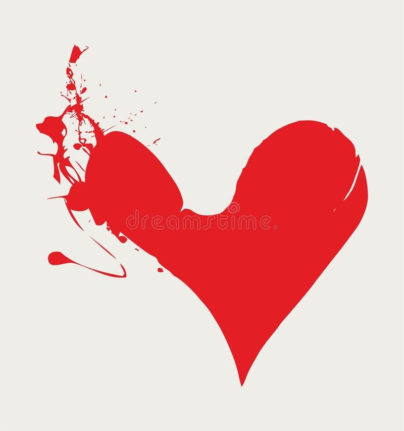Handen dragit färgpulver plaskar hjärtavektorn royaltyfri illustrationer