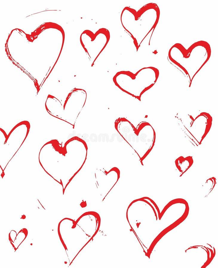 Handen dragit färgpulver plaskar hjärtavektorn stock illustrationer