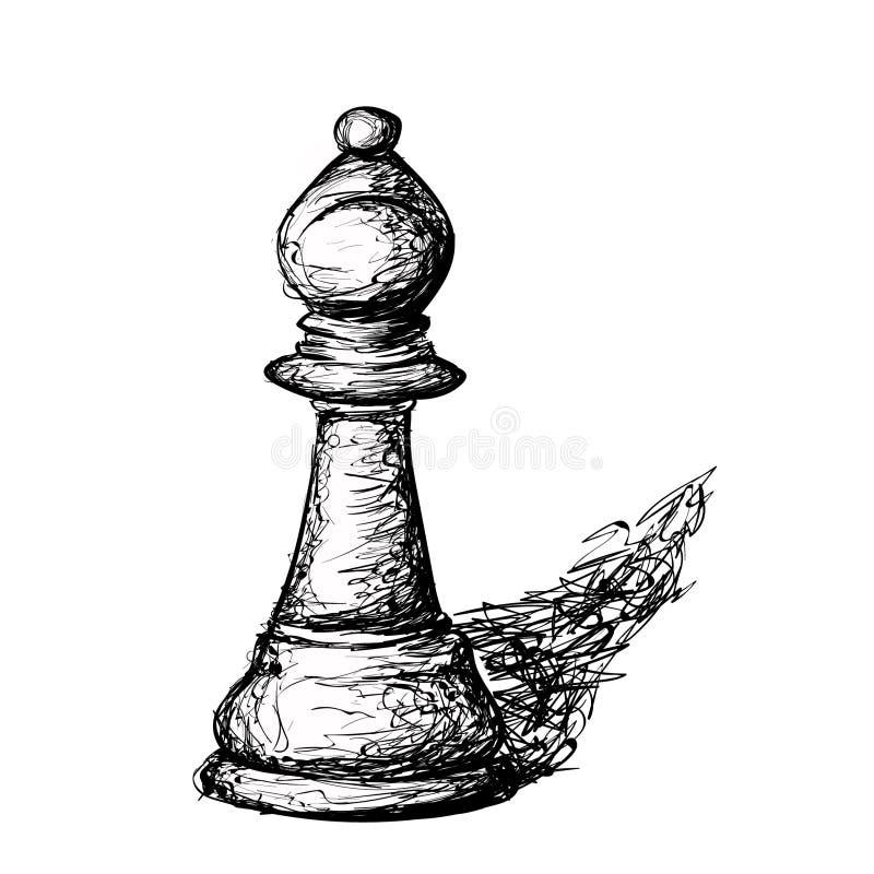 Handen dragit skissat schack pantsätter försvararen stock illustrationer