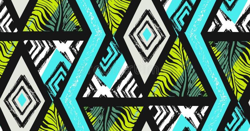 Handen dragit vektorabstrakt begrepp texturerade freehand sömlös tropisk modellcollage med sebramotivet, organiska texturer royaltyfri illustrationer