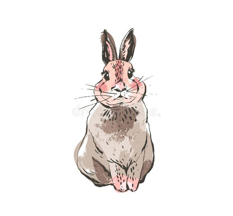 Handen dragit vektorabstrakt begreppfärgpulver skissar illustrationer för kanin för scandinavian lycklig påsk för grafisk tecknin vektor illustrationer
