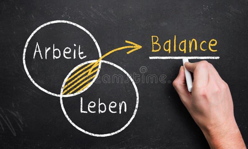 Handen drar ett diagram med de 2 cirklarna arbetar och liv och att resultera i ett överlappande jämviktsområde royaltyfri fotografi