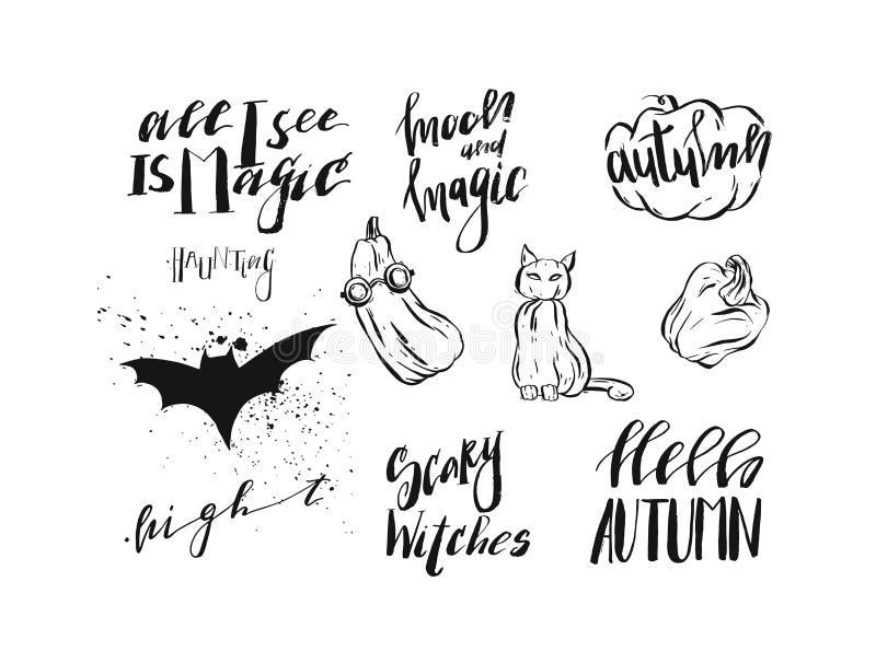 Handen drog allhelgonaaftonen för kalligrafi för vektorabstrakt begrepp handskrivna moderna citerar, tecken, logoen, symboler, il stock illustrationer