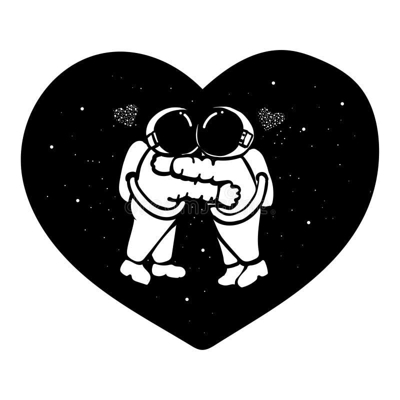 Handen drog astronautpar som kramar i utrymmet med stjärnor, bildar i -hjärtad form för t-skjortadesignen, designbeståndsdel och  vektor illustrationer