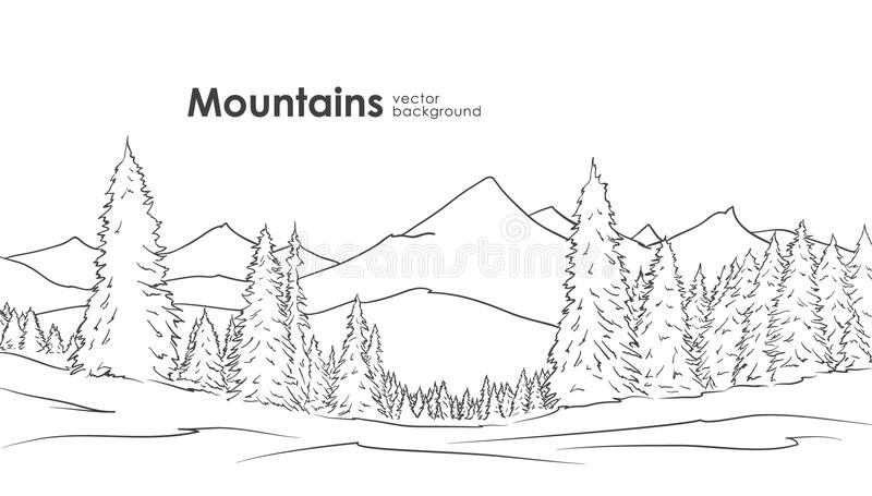 Handen drog berg skissar bakgrund med pinjeskogen på förgrund planlägg linjen royaltyfri illustrationer