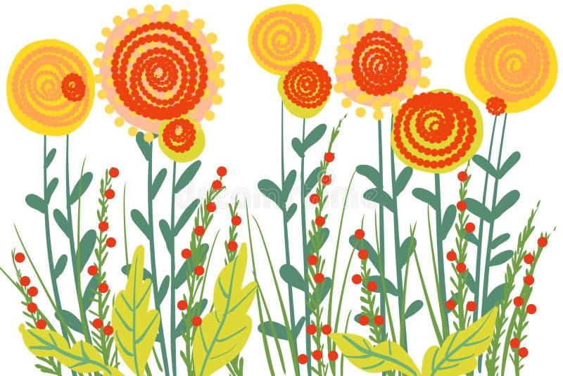 Handen drog blom- krusidullträdgården som växer blommar för konstbakgrund royaltyfri illustrationer