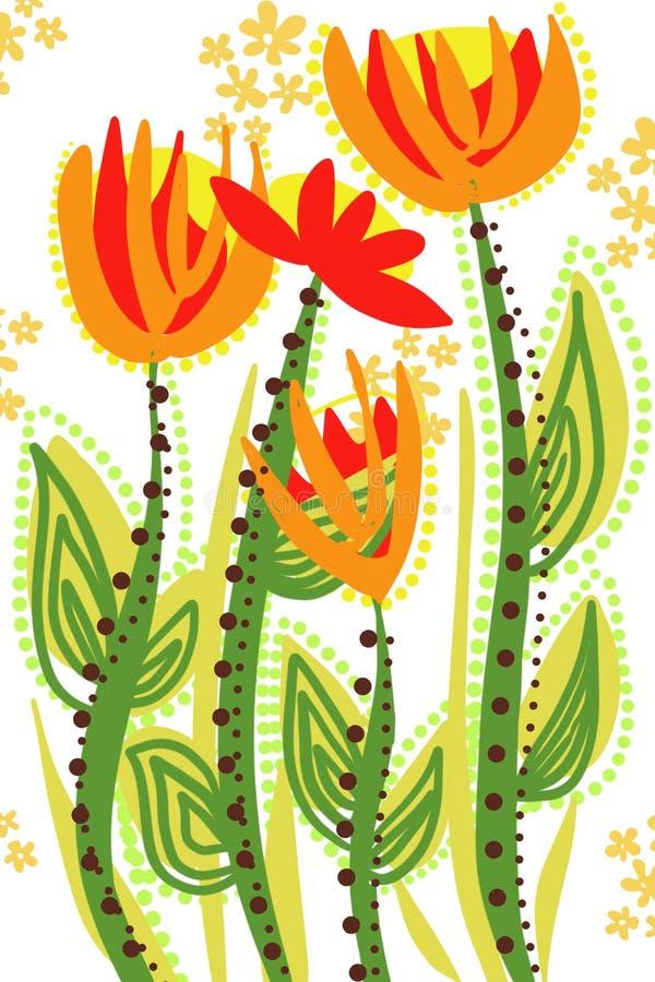Handen drog blom- liljafantasiträdgården som växer blommar för konstbakgrund stock illustrationer