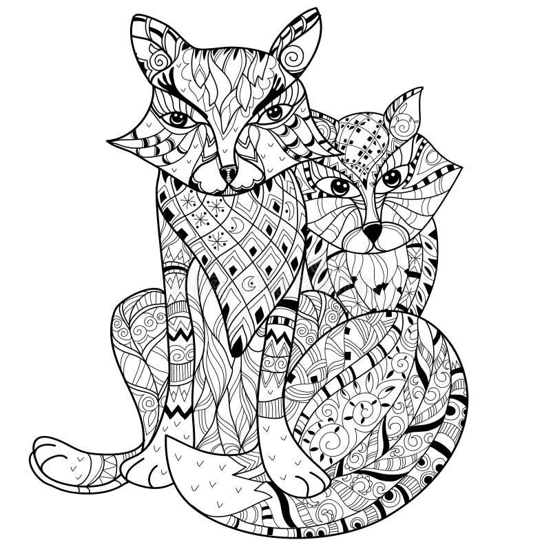 Handen drog bohoen för klotteröversiktsräv skissar royaltyfri illustrationer