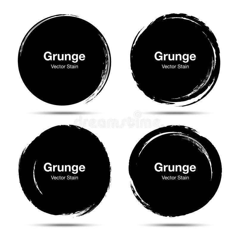 Handen drog cirkelborsten skissar uppsättningen För runt runda cirklar grungeklotter för vektor Textur för borstesuddfläck royaltyfri illustrationer