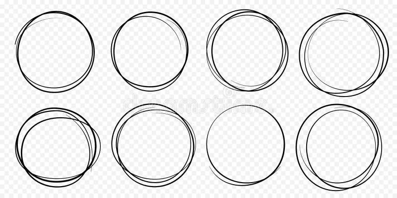 Handen drog cirkellinjen skissar det fastställda vektorcirkuläret klottrar klotterrundacirklar royaltyfri illustrationer