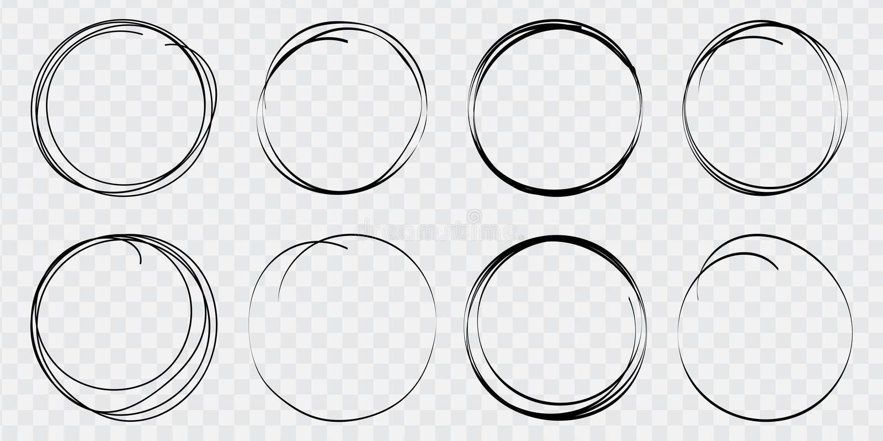 Handen drog cirkellinjen skissar upps?ttningen Runda vektorfält av handstil, cirklar för meddelanden som målas med pennan eller b vektor illustrationer