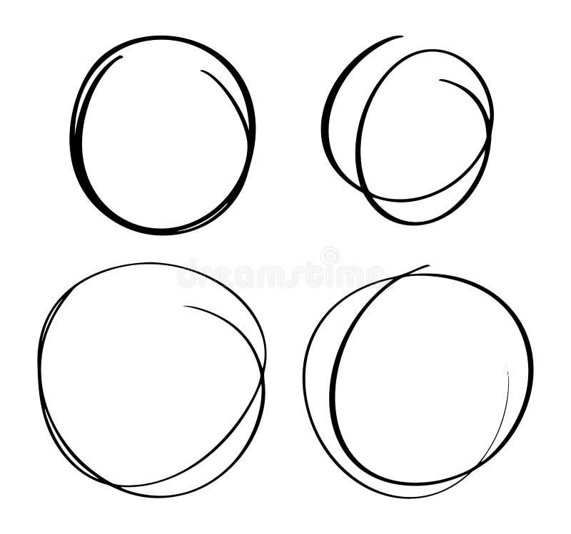 Handen drog cirkellinjen skissar upps?ttningen Vektorcirkul?ret klottrar klotterrundacirklar f?r best?ndsdel f?r design f?r medde royaltyfri illustrationer