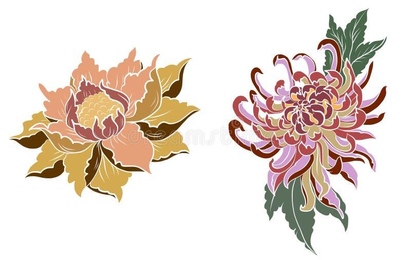 Handen drog den pionblomman, Lotus och krysantemumet blommar vektorkonst för kinesisk stil Blomma för pion för kinesisk tatuering stock illustrationer