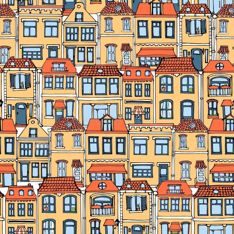 Handen drog europeiska staden inhyser den sömlösa modellen Gullig illustration för tecknad filmstilvektor Färgrik modern radhusby stock illustrationer