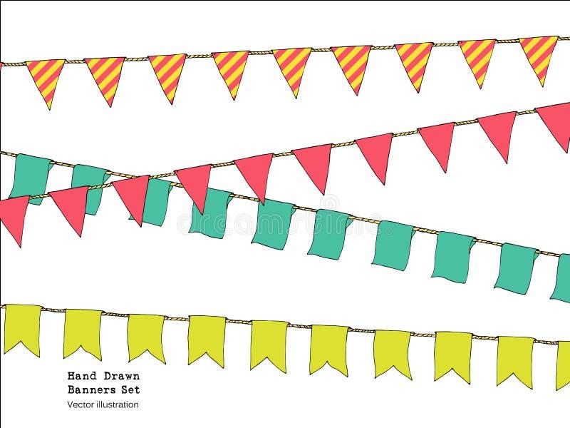 Handen drog färgrika klotterbuntingbaner ställde in för garnering Klotterbaneruppsättningen, bunting flaggor, gräns skissar dekor royaltyfri illustrationer