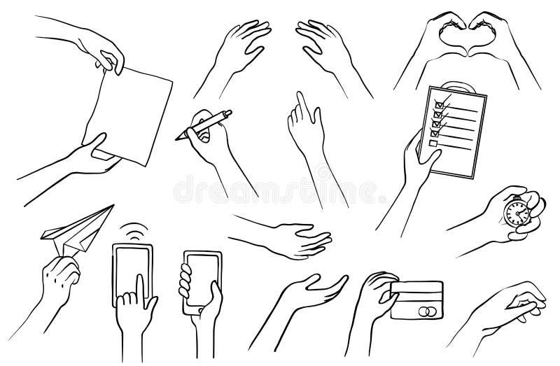 Handen drog händer ställde in, samlingen av skissar symboler, beståndsdelar för grafisk design stock illustrationer