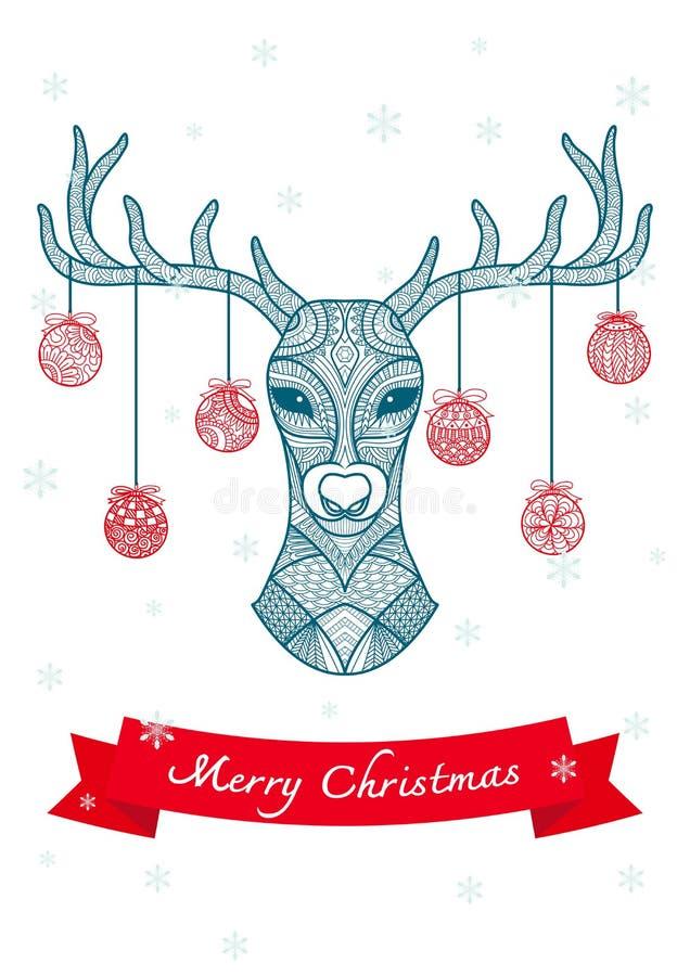 Handen drog hjorthuvudet med jul klumpa ihop sig att hänga på dess horn, för julkort och garnering vektor illustrationer