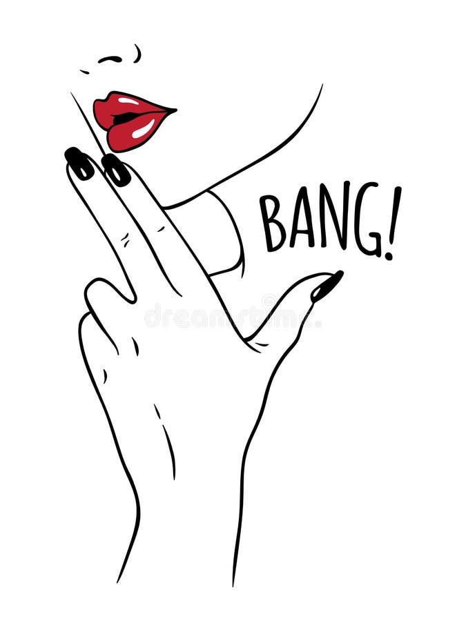 Handen drog innehavfingrar för ung kvinna i vapen gör en gest Den pråliga tatuering- eller tryckdesignen i noir komiker utformar  vektor illustrationer