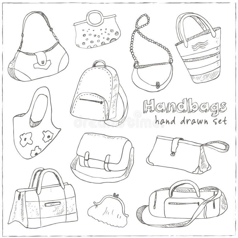 Handen drog klottret skissar illustrationuppsättningen av påsar - bagage för lopp, resväskan, fallet, handväska, royaltyfri illustrationer