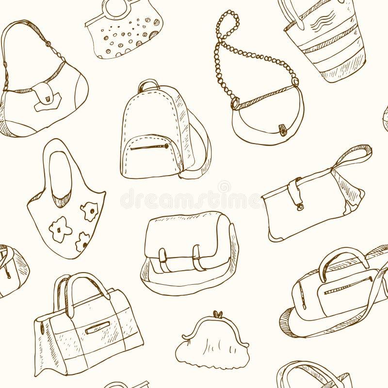 Handen drog klottret skissar sömlösa modellpåsar för illustrationen - bagage för lopp, resväskan, fallet, handväska, vektor illustrationer