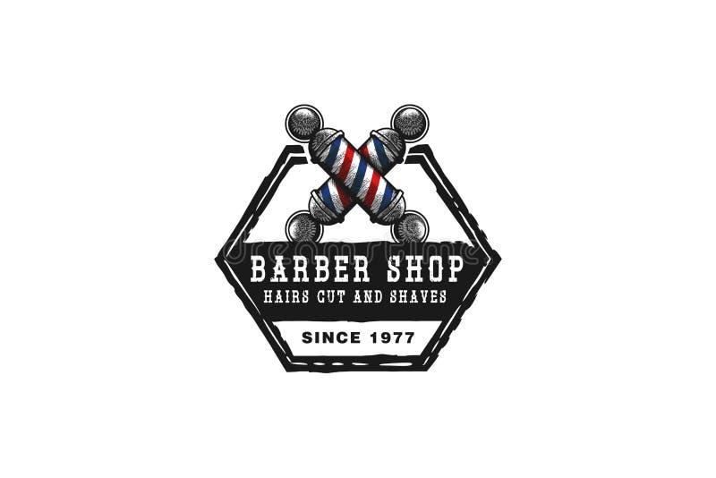 handen drog korsade barberarepolen, hipsterbarberaren shoppar logoinspiration som isoleras på vit bakgrund stock illustrationer