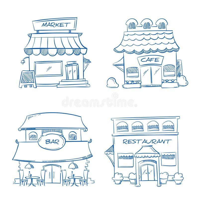 Handen drog lagret, shoppar, restaurangen, kafét, stångbyggnader vektorklottersamling royaltyfri illustrationer