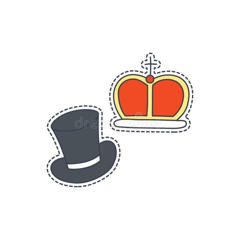 Handen drog lappen förser med märke med det Förenade kungariket symbolet - kronan och hatten Klistermärke, stift och lapp i komik vektor illustrationer