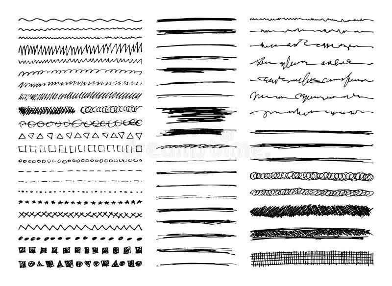 Handen drog linjen gränser, slaglängder och klottrar vektor illustrationer