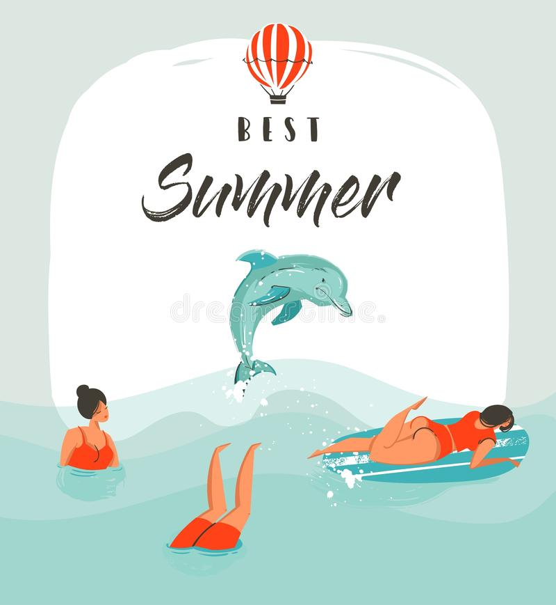 Handen drog mallen för kortet för illustrationen för tid för vektorabstrakt begreppsommar roliga med att simma lyckligt folk i ha royaltyfri illustrationer
