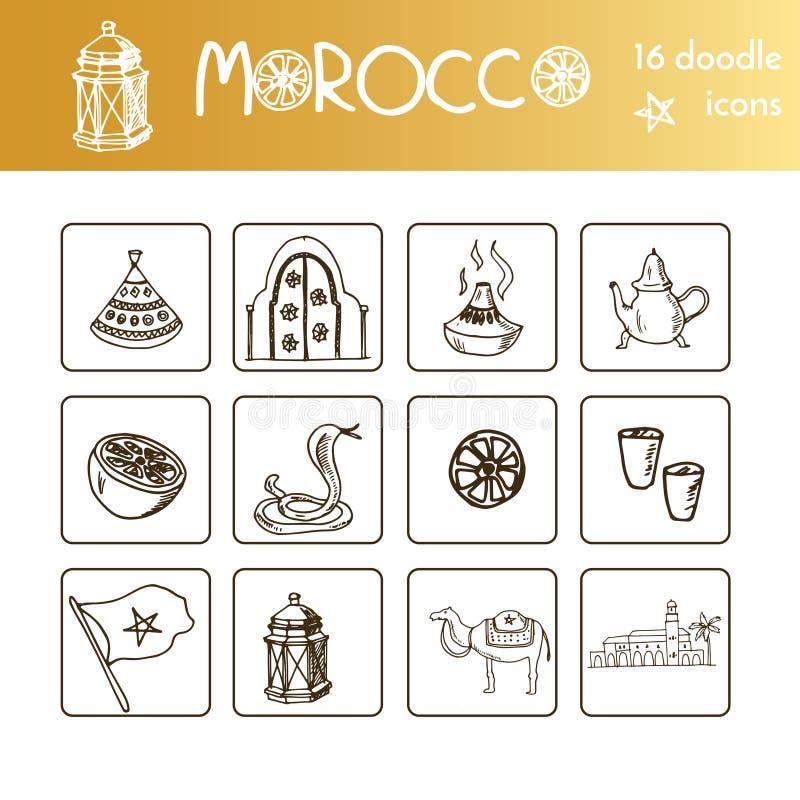 Handen drog Marocko loppuppsättningen med lurar vektorn isolerade illustrationen på det vita bakgrundsklottret skissar stock illustrationer