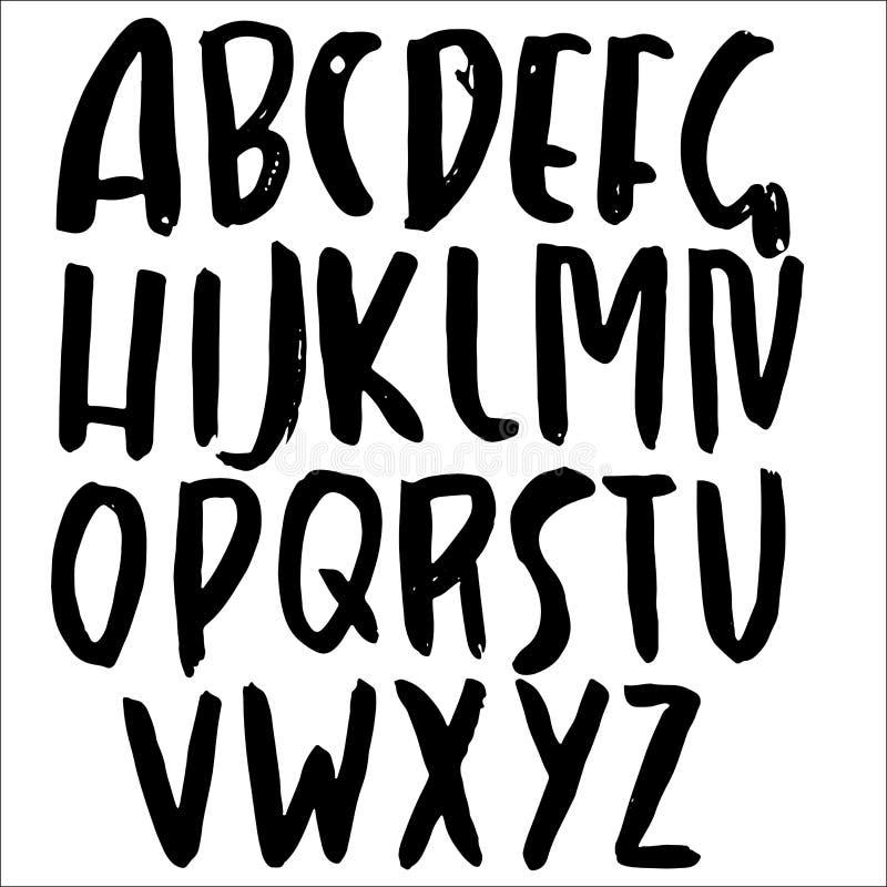 Handen drog moderna torkar borstebokstäver Grungestilalfabet Handskriven stilsort också vektor för coreldrawillustration stock illustrationer