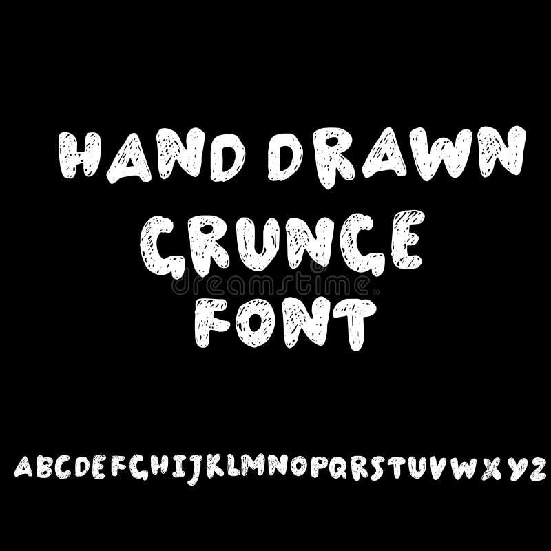 Handen drog moderna torkar borstebokstäver Grungestilalfabet Handskriven stilsort också vektor för coreldrawillustration royaltyfri illustrationer