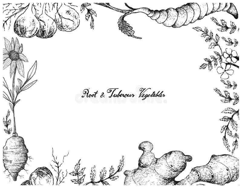 Handen drog ramen av rotar och Tuberous grönsaker royaltyfri illustrationer
