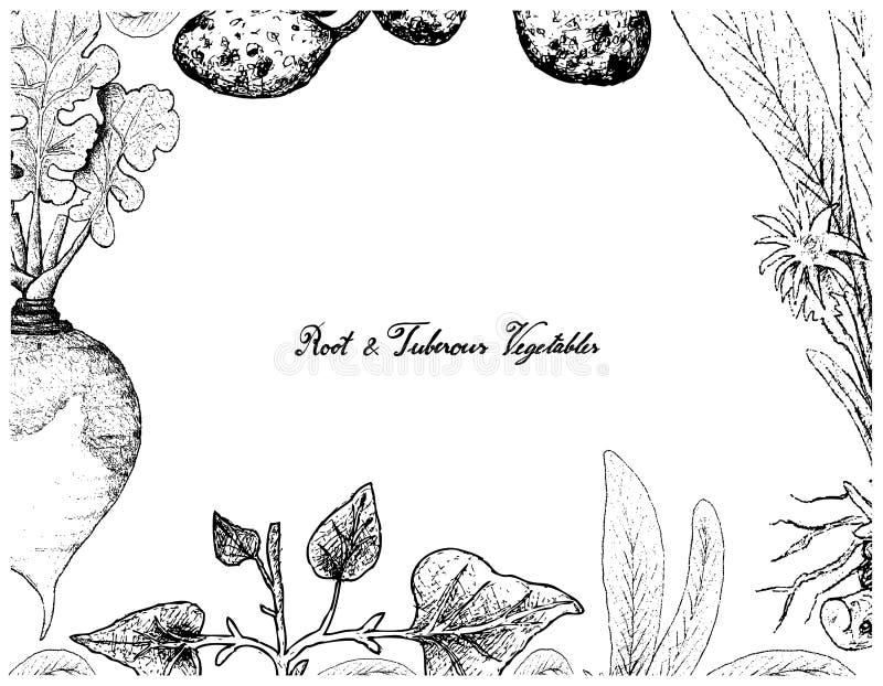 Handen drog ramen av rotar och Tuberous grönsaker stock illustrationer