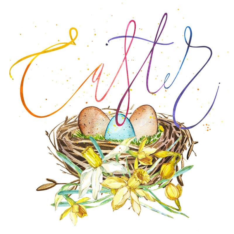 Handen drog redet för vattenfärgkonstfågeln med ägg och våren blommar, ord-påsken Isolerad illustration på vit stock illustrationer