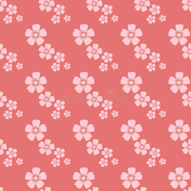 Handen drog sömlösa modellen för rosa färgblomman skissar tappningtapeten med tryckprydnadgarnering och blom- grafik vektor illustrationer