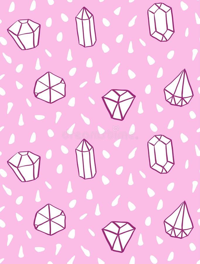 Handen drog sömlösa modellen för stil med diamanten formar vektor illustrationer